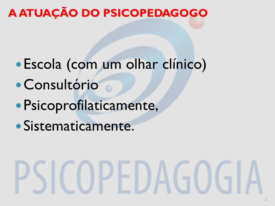A ATUAÇÃO DO PSICOPEDAGOGO Escola (com um olhar clínico) Consultório Psicoprofilaticamente, Sistematicamente. 2