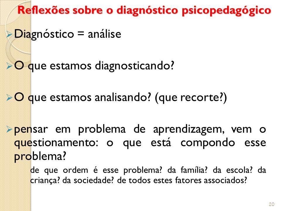 Reflexões sobre o diagnóstico psicopedagógico Diagnóstico = análise O que estamos diagnosticando? O que estamos analisando? (que recorte?) pensar em p