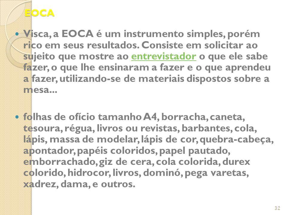 EOCA Visca, a EOCA é um instrumento simples, porém rico em seus resultados. Consiste em solicitar ao sujeito que mostre ao entrevistador o que ele sab
