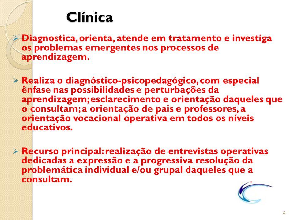 Clínica Clínica Diagnostica, orienta, atende em tratamento e investiga os problemas emergentes nos processos de aprendizagem. Realiza o diagnóstico-ps