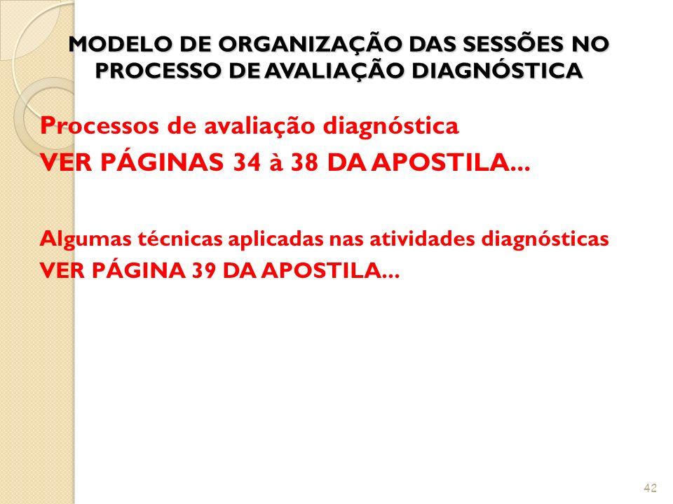 MODELO DE ORGANIZAÇÃO DAS SESSÕES NO PROCESSO DE AVALIAÇÃO DIAGNÓSTICA Processos de avaliação diagnóstica VER PÁGINAS 34 à 38 DA APOSTILA... Algumas t