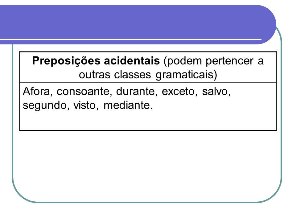 Preposições acidentais (podem pertencer a outras classes gramaticais) Afora, consoante, durante, exceto, salvo, segundo, visto, mediante.
