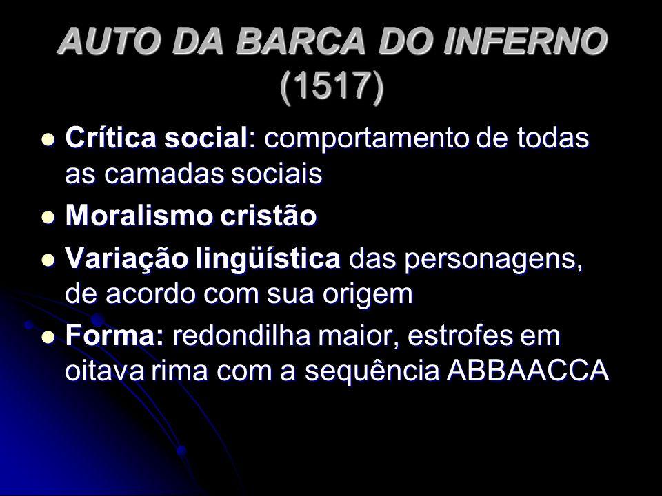AUTO DA BARCA DO INFERNO (1517) Crítica social: comportamento de todas as camadas sociais Crítica social: comportamento de todas as camadas sociais Mo