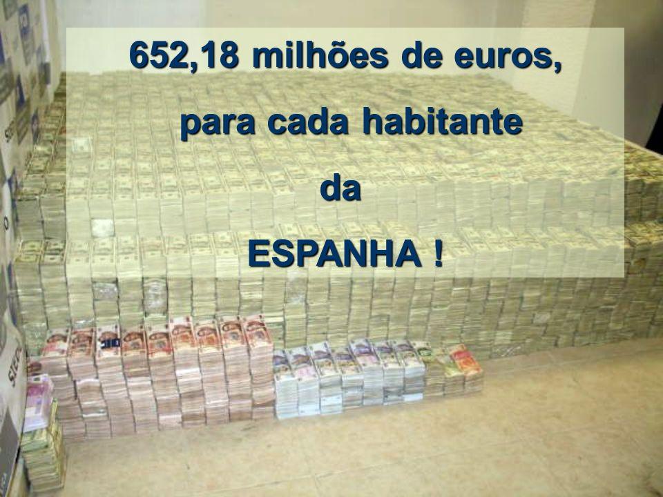 30 bilhões de euros divididos por 46.063.511 de habitantes sai a: 652,18 milhões de euros 652,18 milhões de euros PARA CADA ESPANHOL!