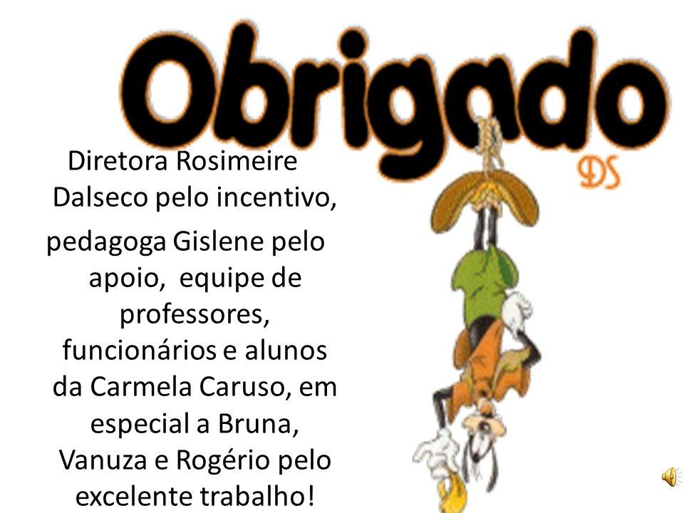 Diretora Rosimeire Dalseco pelo incentivo, pedagoga Gislene pelo apoio, equipe de professores, funcionários e alunos da Carmela Caruso, em especial a