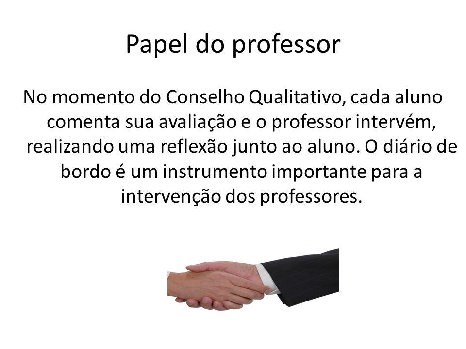 Papel do professor No momento do Conselho Qualitativo, cada aluno comenta sua avaliação e o professor intervém, realizando uma reflexão junto ao aluno
