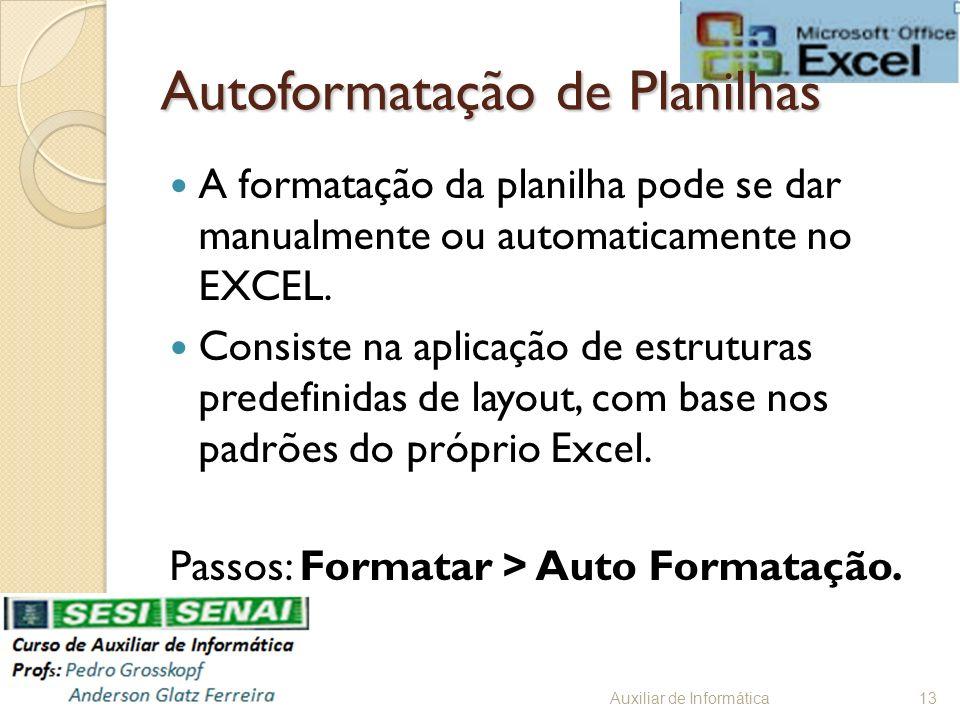 Autoformatação de Planilhas A formatação da planilha pode se dar manualmente ou automaticamente no EXCEL. Consiste na aplicação de estruturas predefin