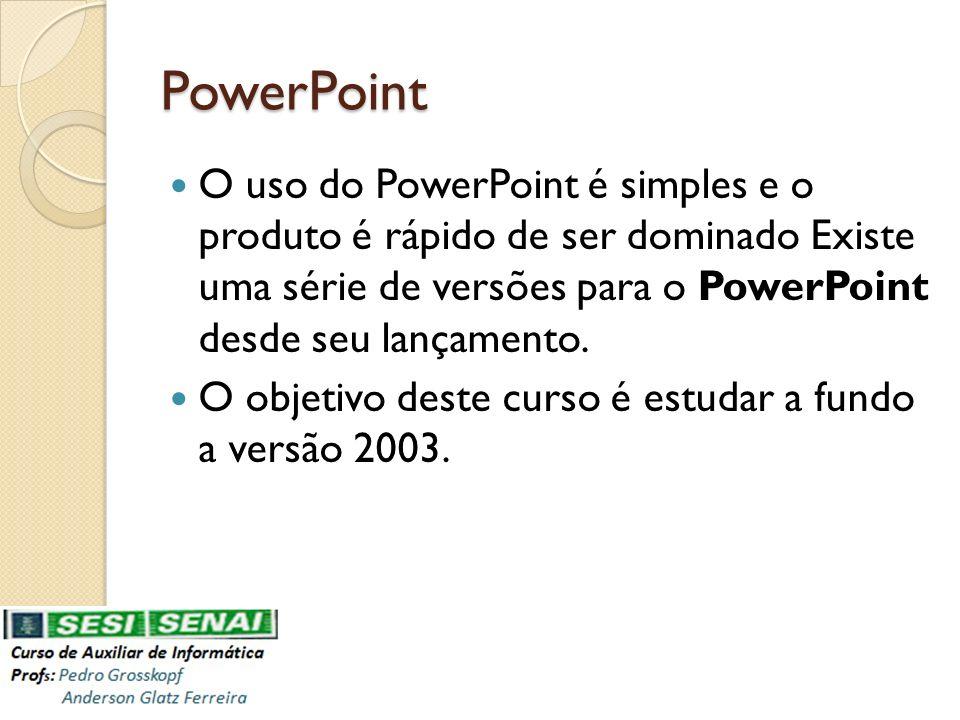PowerPoint O uso do PowerPoint é simples e o produto é rápido de ser dominado Existe uma série de versões para o PowerPoint desde seu lançamento. O ob