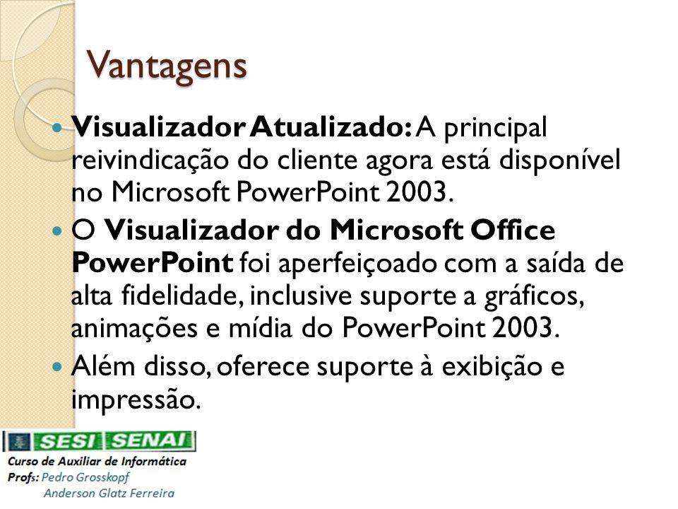 Vantagens Pacote para CD: Crie CDs de suas apresentações para exibir em computadores que executam um sistema operacional Windows.