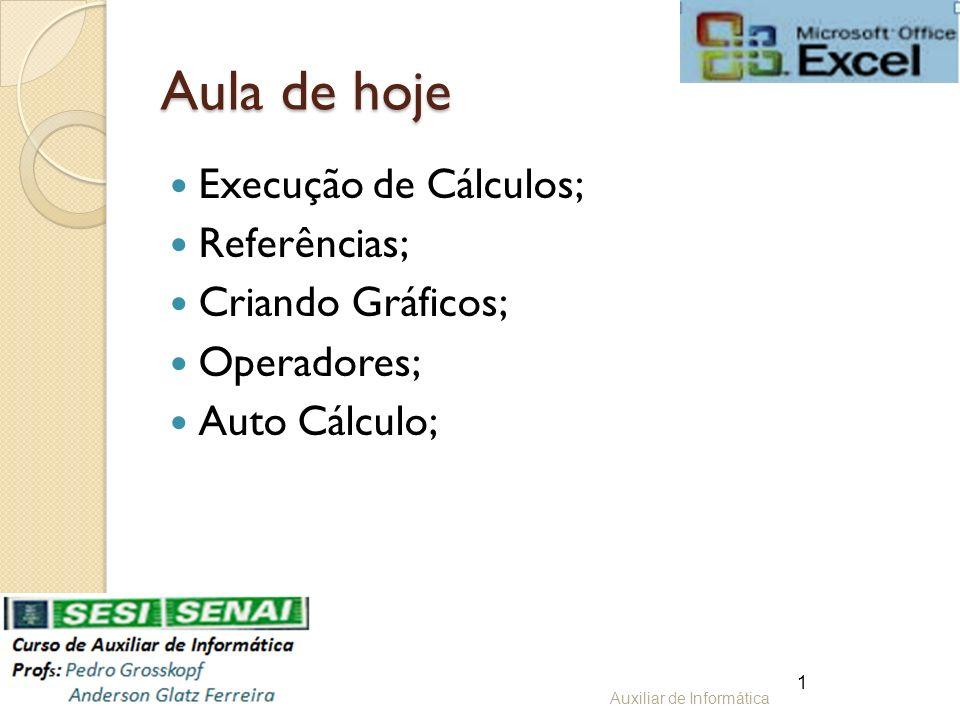 Aula de hoje Execução de Cálculos; Referências; Criando Gráficos; Operadores; Auto Cálculo; Auxiliar de Informática 1