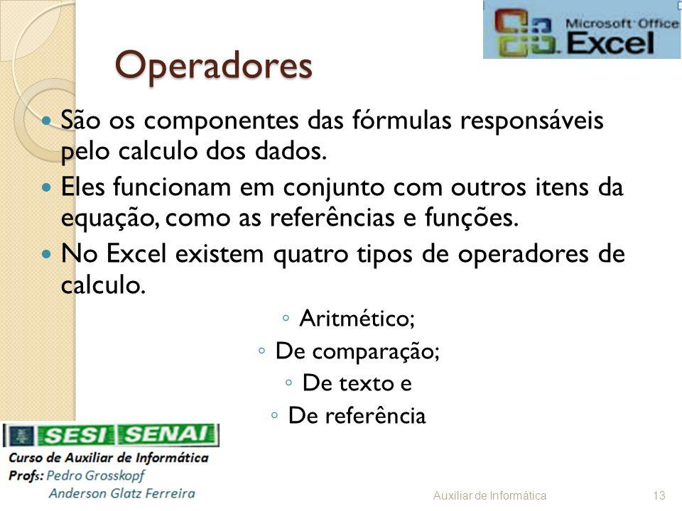 Operadores São os componentes das fórmulas responsáveis pelo calculo dos dados. Eles funcionam em conjunto com outros itens da equação, como as referê