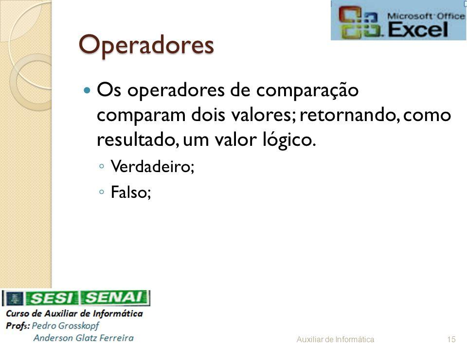 Operadores Os operadores de comparação comparam dois valores; retornando, como resultado, um valor lógico. Verdadeiro; Falso; Auxiliar de Informática1