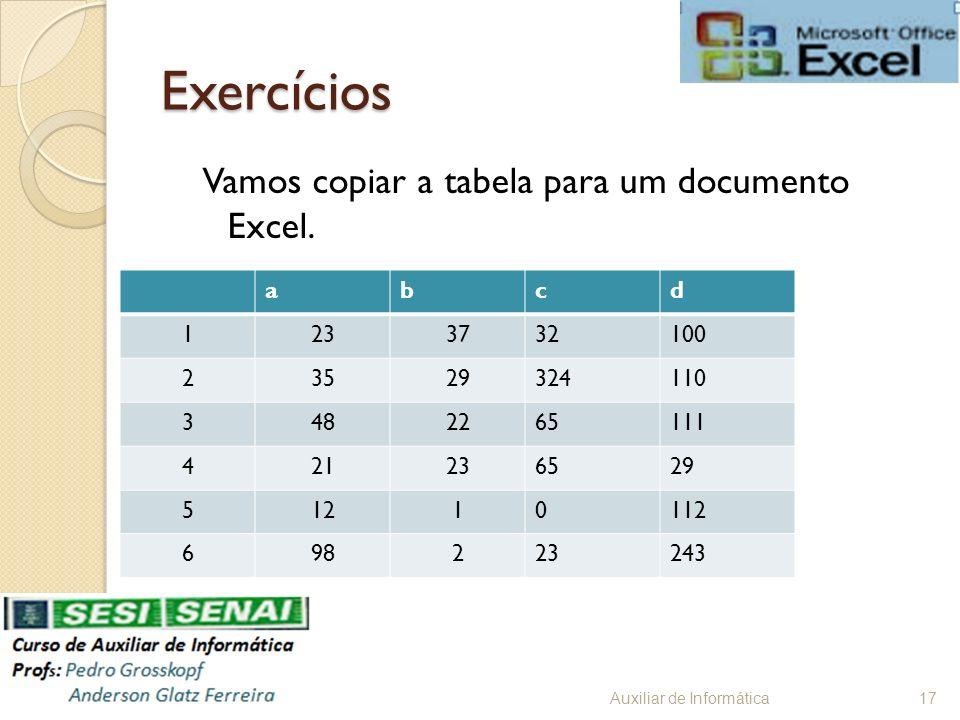 Exercícios Vamos copiar a tabela para um documento Excel. Auxiliar de Informática17 abcd 1233732100 23529324110 3482265111 421236529 51210112 69822324
