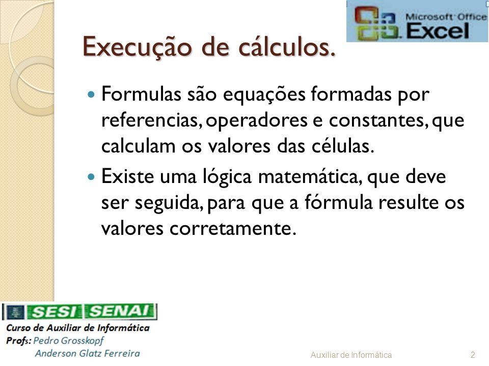 Execução de cálculos. Formulas são equações formadas por referencias, operadores e constantes, que calculam os valores das células. Existe uma lógica