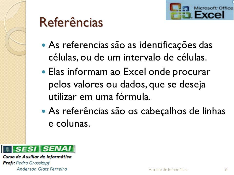Referências As referencias são as identificações das células, ou de um intervalo de células. Elas informam ao Excel onde procurar pelos valores ou dad