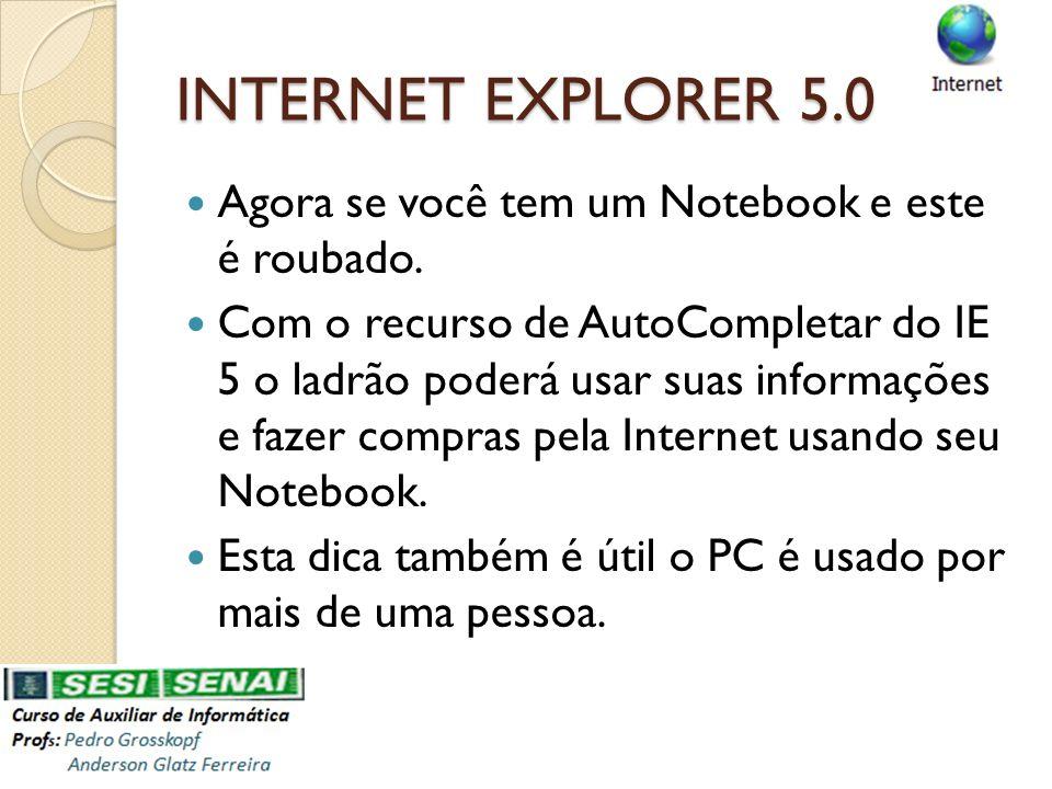 Agora se você tem um Notebook e este é roubado. Com o recurso de AutoCompletar do IE 5 o ladrão poderá usar suas informações e fazer compras pela Inte