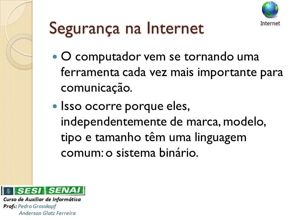 Segurança na Internet O computador vem se tornando uma ferramenta cada vez mais importante para comunicação. Isso ocorre porque eles, independentement