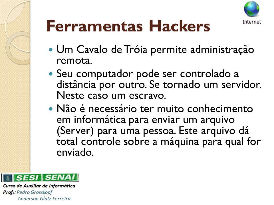 Ferramentas Hackers Um Cavalo de Tróia permite administração remota. Seu computador pode ser controlado a distância por outro. Se tornado um servidor.