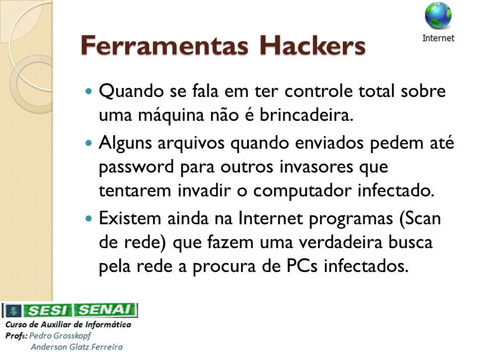 Ferramentas Hackers Quando se fala em ter controle total sobre uma máquina não é brincadeira. Alguns arquivos quando enviados pedem até password para