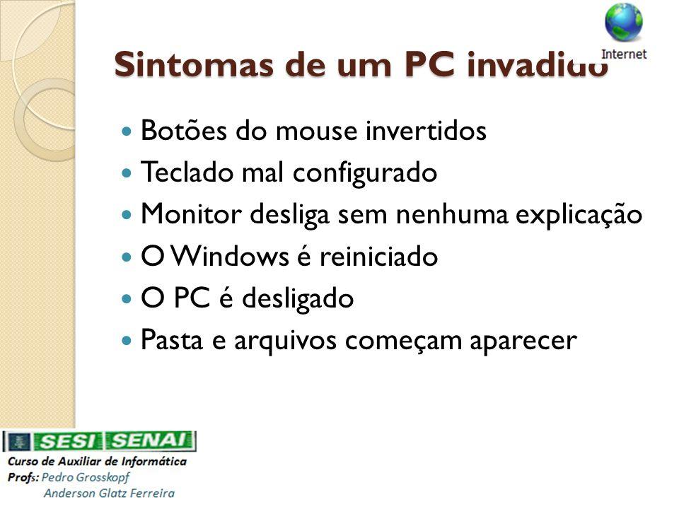 Sintomas de um PC invadido Botões do mouse invertidos Teclado mal configurado Monitor desliga sem nenhuma explicação O Windows é reiniciado O PC é des