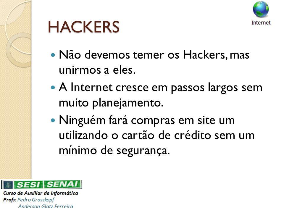 HACKERS Não devemos temer os Hackers, mas unirmos a eles. A Internet cresce em passos largos sem muito planejamento. Ninguém fará compras em site um u