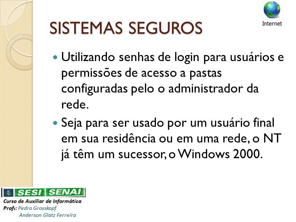 SISTEMAS SEGUROS Utilizando senhas de login para usuários e permissões de acesso a pastas configuradas pelo o administrador da rede. Seja para ser usa