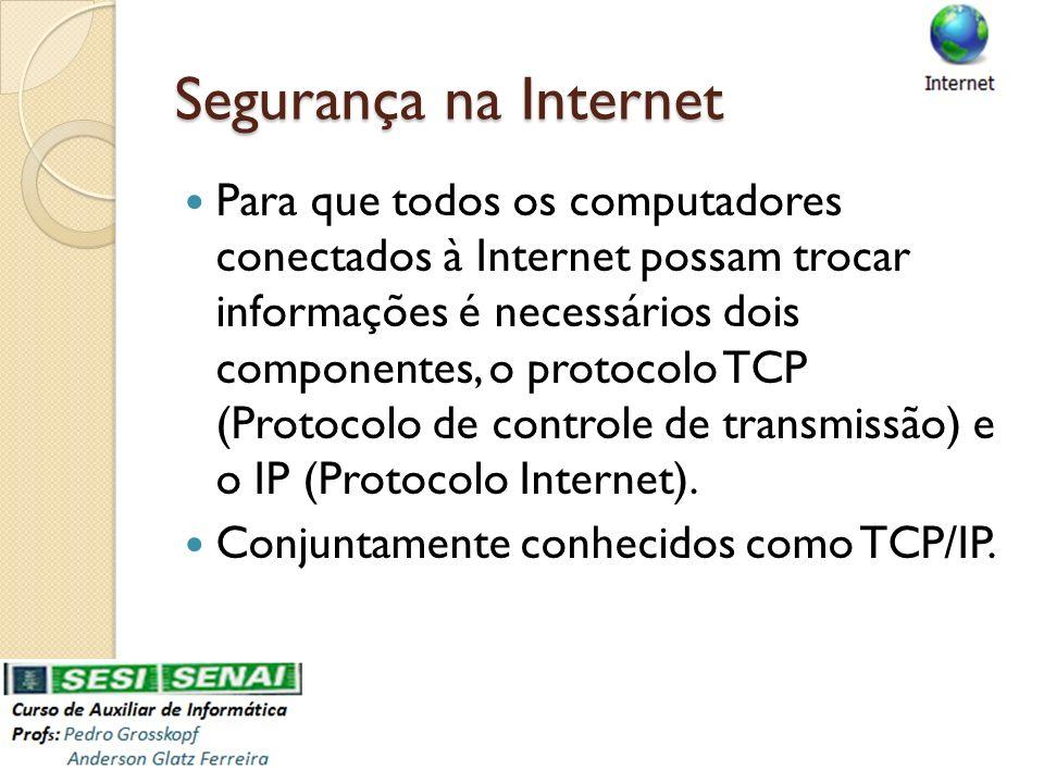 Segurança na Internet Para que todos os computadores conectados à Internet possam trocar informações é necessários dois componentes, o protocolo TCP (