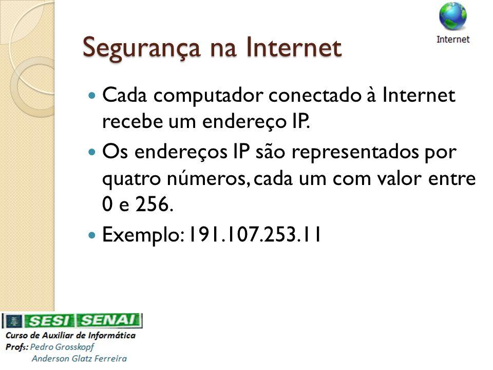 Segurança na Internet Cada computador conectado à Internet recebe um endereço IP. Os endereços IP são representados por quatro números, cada um com va