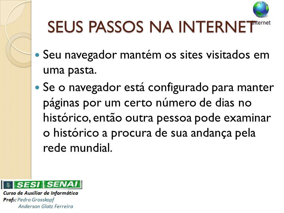 SEUS PASSOS NA INTERNET Seu navegador mantém os sites visitados em uma pasta. Se o navegador está configurado para manter páginas por um certo número