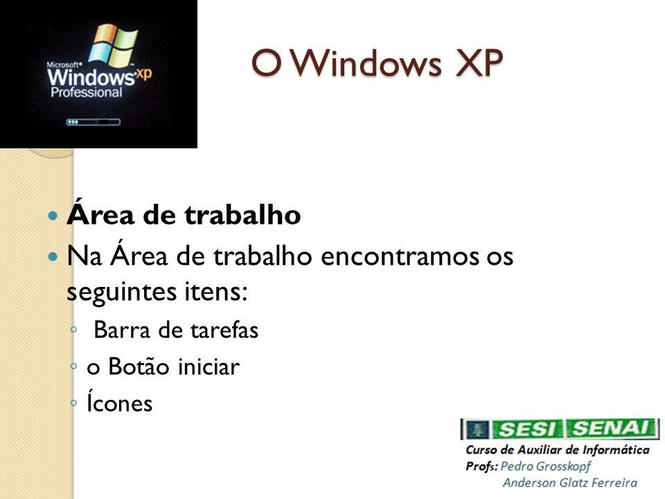 O Windows XP Área de trabalho Na Área de trabalho encontramos os seguintes itens: Barra de tarefas o Botão iniciar Ícones