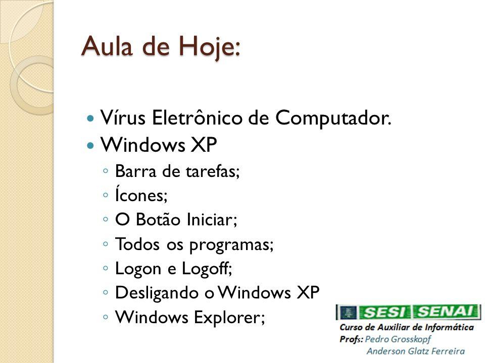 Aula de Hoje: Vírus Eletrônico de Computador. Windows XP Barra de tarefas; Ícones; O Botão Iniciar; Todos os programas; Logon e Logoff; Desligando o W