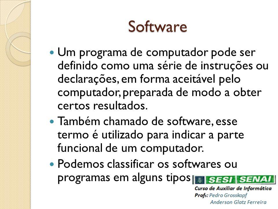 Software Um programa de computador pode ser definido como uma série de instruções ou declarações, em forma aceitável pelo computador, preparada de mod