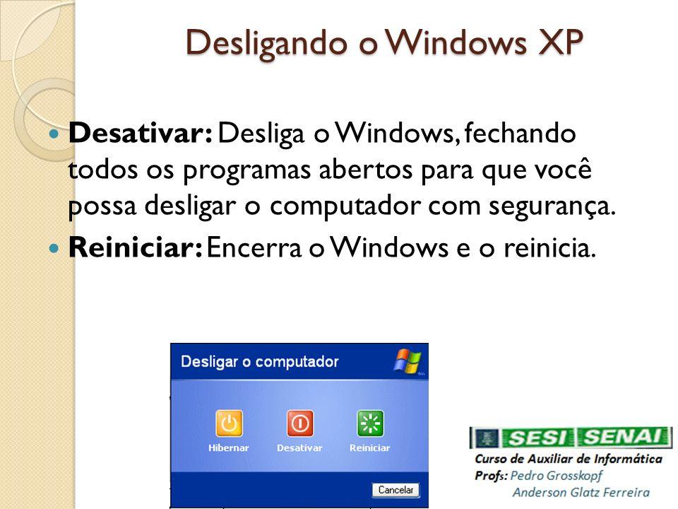 Desligando o Windows XP Desativar: Desliga o Windows, fechando todos os programas abertos para que você possa desligar o computador com segurança. Rei