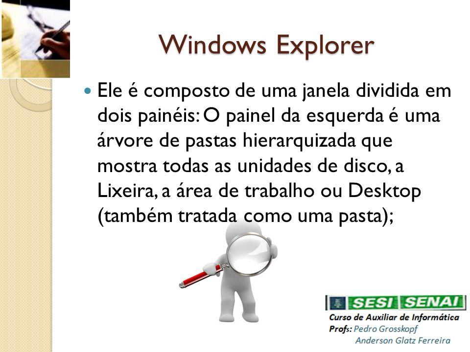 Windows Explorer Ele é composto de uma janela dividida em dois painéis: O painel da esquerda é uma árvore de pastas hierarquizada que mostra todas as
