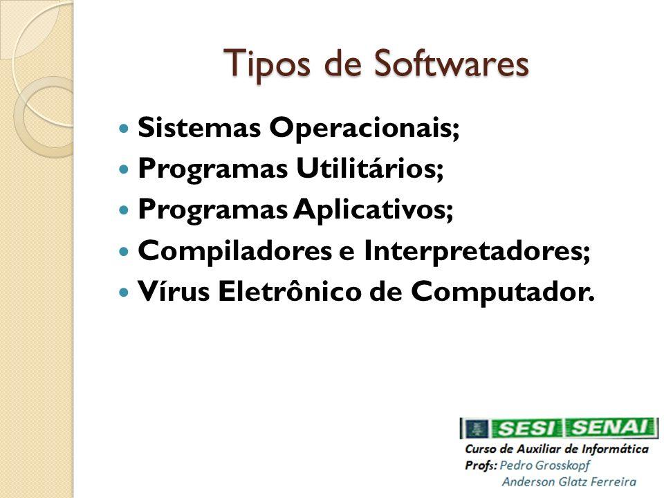 Tipos de Softwares Sistemas Operacionais; Programas Utilitários; Programas Aplicativos; Compiladores e Interpretadores; Vírus Eletrônico de Computador