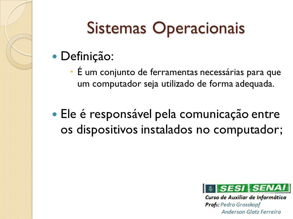 Sistemas Operacionais Definição: É um conjunto de ferramentas necessárias para que um computador seja utilizado de forma adequada. Ele é responsável p