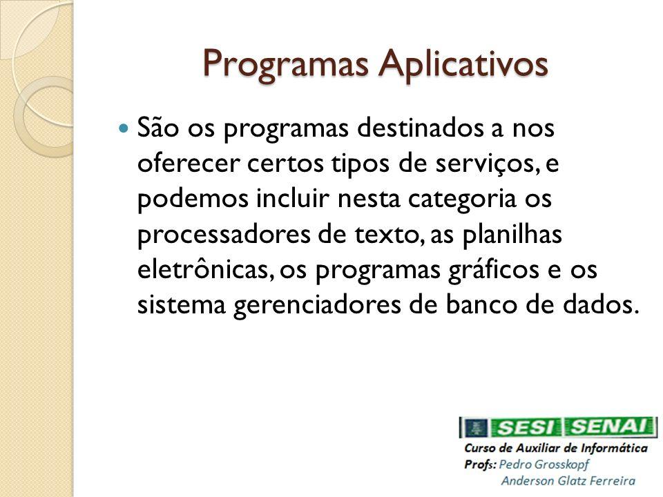 Programas Aplicativos São os programas destinados a nos oferecer certos tipos de serviços, e podemos incluir nesta categoria os processadores de texto