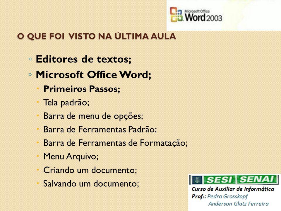 O QUE FOI VISTO NA ÚLTIMA AULA Editores de textos; Microsoft Office Word; Primeiros Passos; Tela padrão; Barra de menu de opções; Barra de Ferramentas