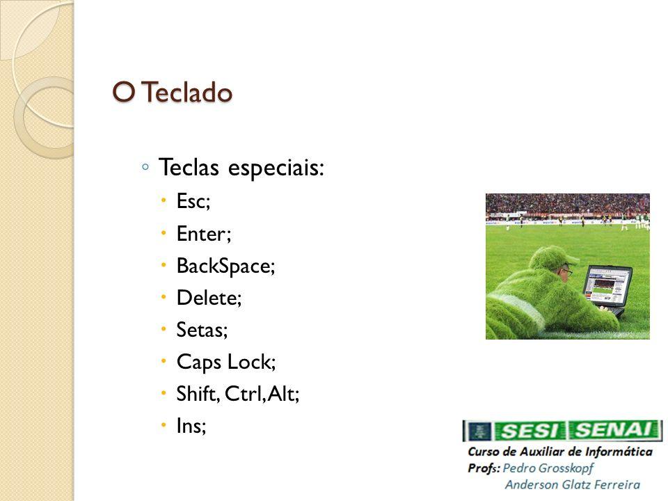 O Teclado Teclas especiais: Esc; Enter; BackSpace; Delete; Setas; Caps Lock; Shift, Ctrl, Alt; Ins;