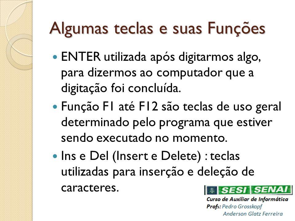 Algumas teclas e suas Funções ENTER utilizada após digitarmos algo, para dizermos ao computador que a digitação foi concluída. Função F1 até F12 são t