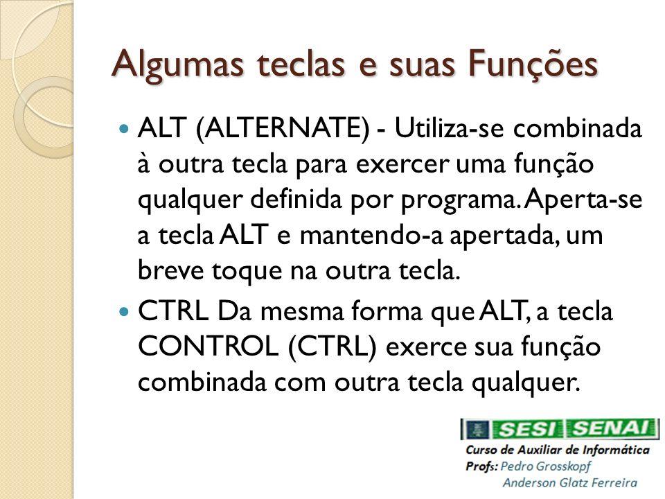 Algumas teclas e suas Funções ALT (ALTERNATE) - Utiliza-se combinada à outra tecla para exercer uma função qualquer definida por programa. Aperta-se a