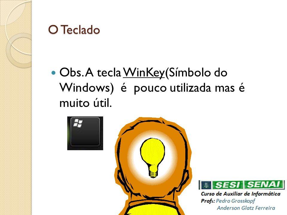 Obs. A tecla WinKey(Símbolo do Windows) é pouco utilizada mas é muito útil. O Teclado