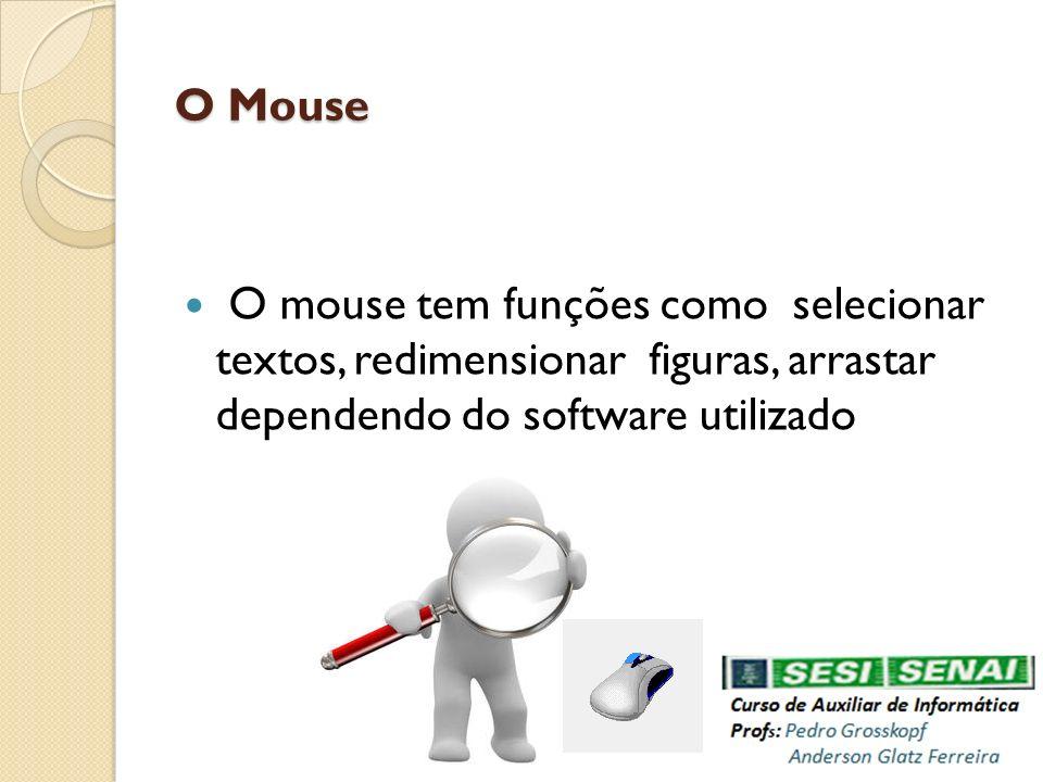 O Mouse O Mouse O mouse tem funções como selecionar textos, redimensionar figuras, arrastar dependendo do software utilizado