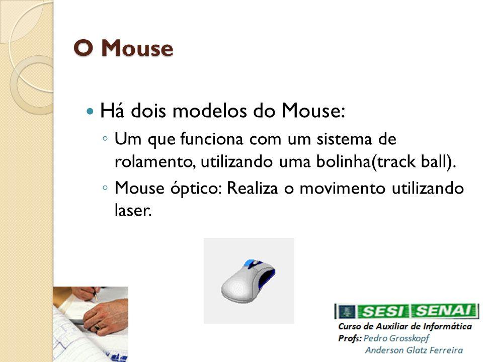 Há dois modelos do Mouse: Um que funciona com um sistema de rolamento, utilizando uma bolinha(track ball). Mouse óptico: Realiza o movimento utilizand