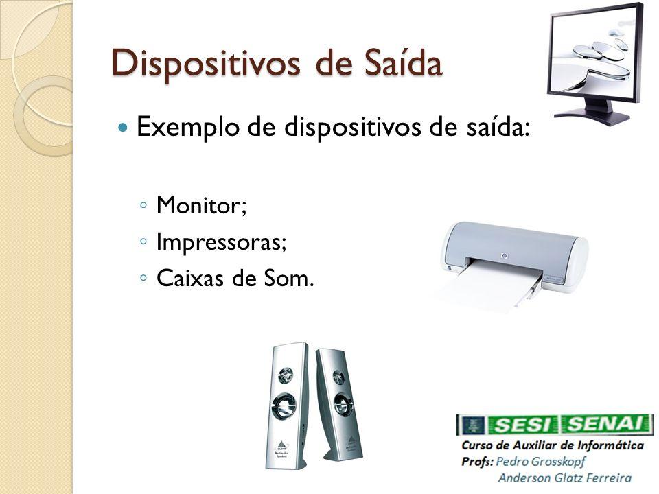 Dispositivos de Saída Exemplo de dispositivos de saída: Monitor; Impressoras; Caixas de Som.