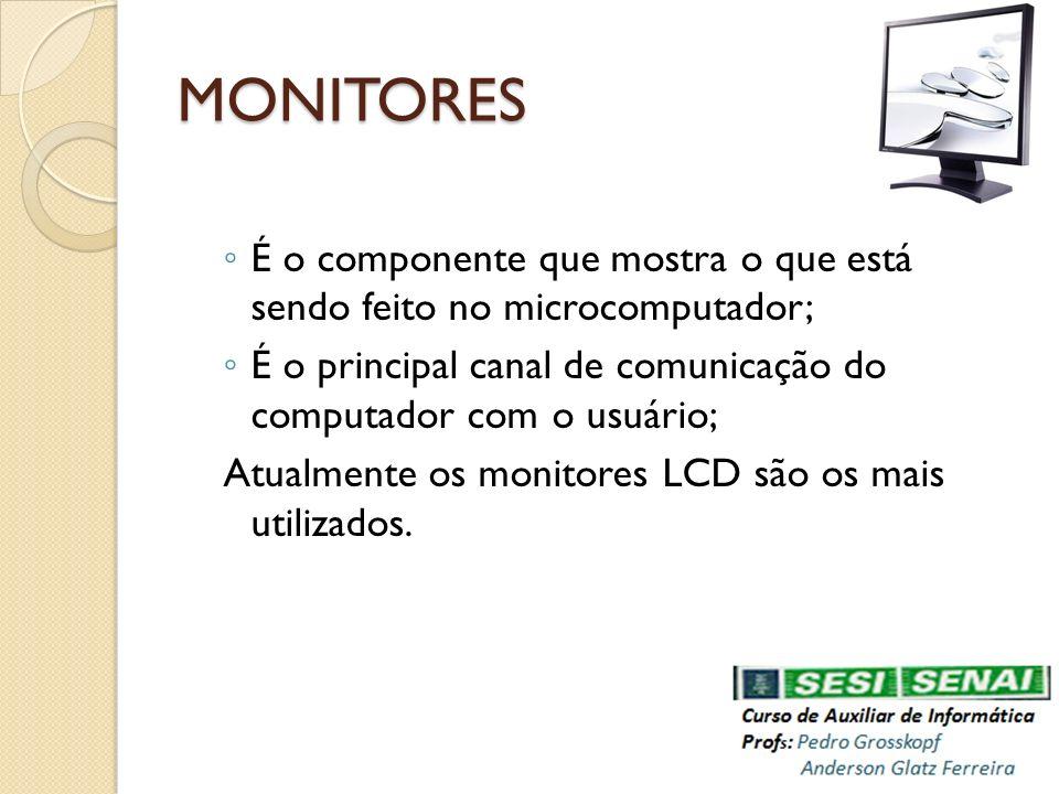 MONITORES É o componente que mostra o que está sendo feito no microcomputador; É o principal canal de comunicação do computador com o usuário; Atualme