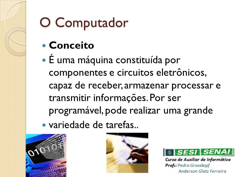 O Computador Conceito É uma máquina constituída por componentes e circuitos eletrônicos, capaz de receber, armazenar processar e transmitir informaçõe