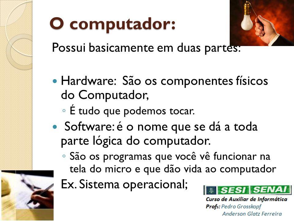 O computador: Possui basicamente em duas partes: Hardware: São os componentes físicos do Computador, É tudo que podemos tocar. Software: é o nome que