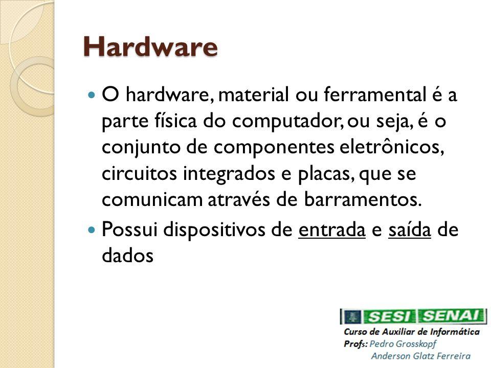 Hardware O hardware, material ou ferramental é a parte física do computador, ou seja, é o conjunto de componentes eletrônicos, circuitos integrados e