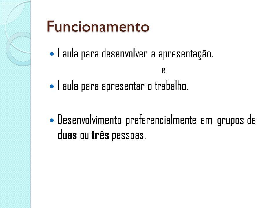 Funcionamento 1 aula para desenvolver a apresentação. e 1 aula para apresentar o trabalho. Desenvolvimento preferencialmente em grupos de duas ou três